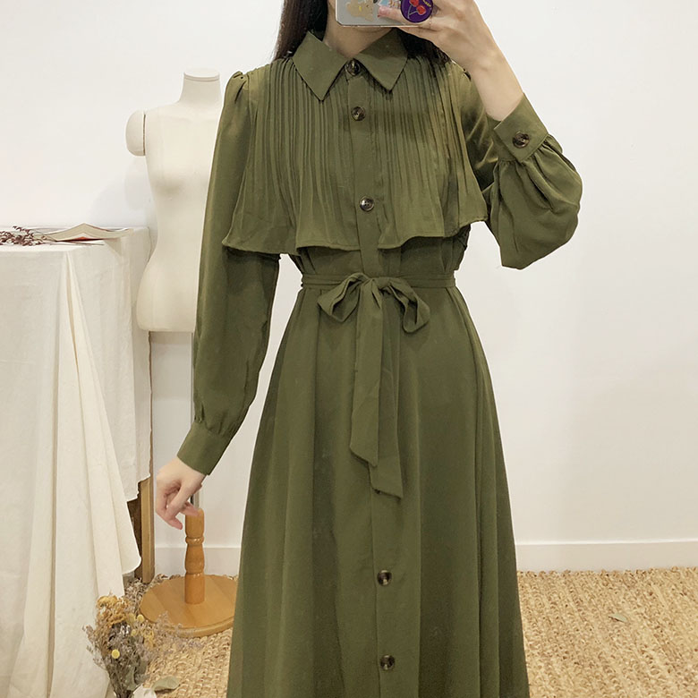 Camel frill flare strap long dress