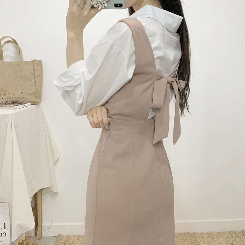Elsa Back Ribbon Bustier Long Dress