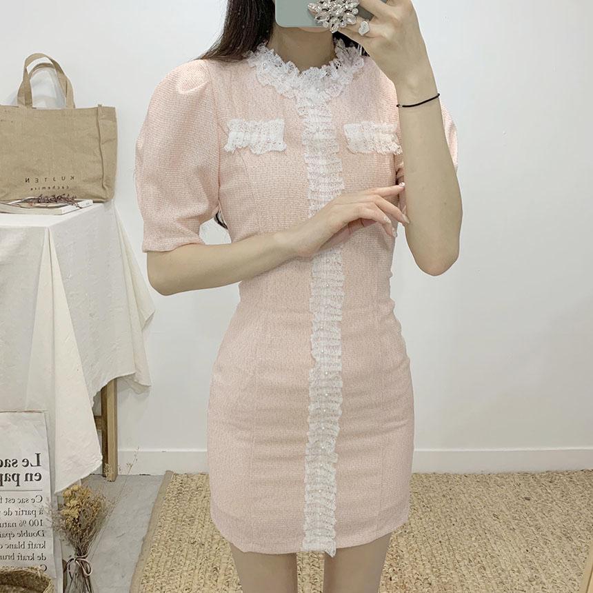 Celery lace ruffle tweed mini dress