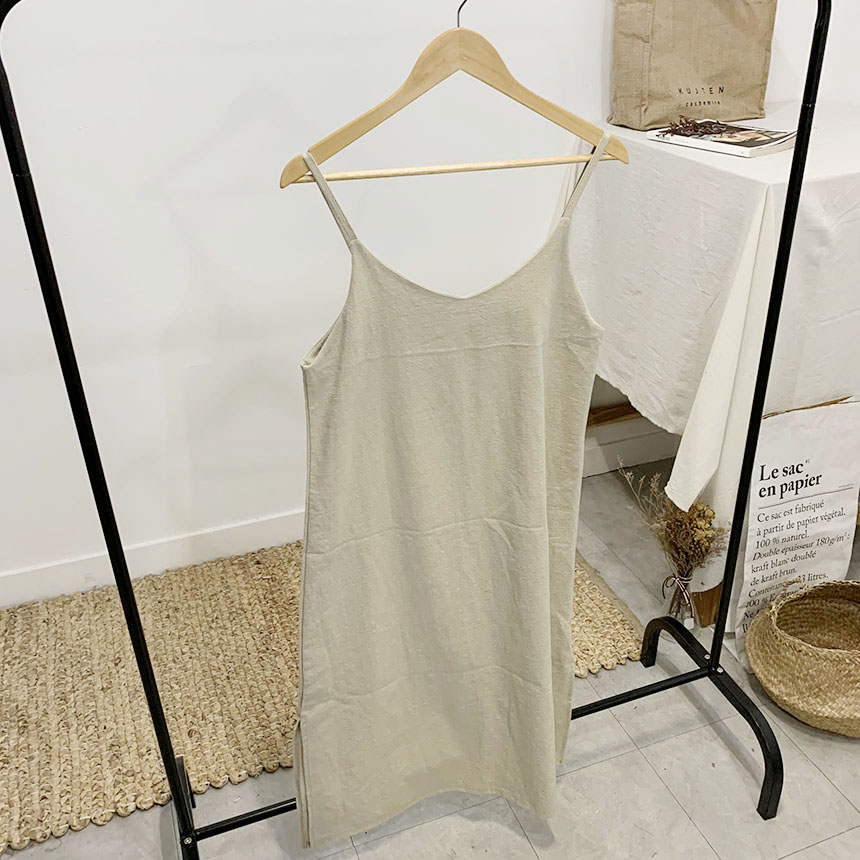 Fiole Slit Linen Long Bustier Dress