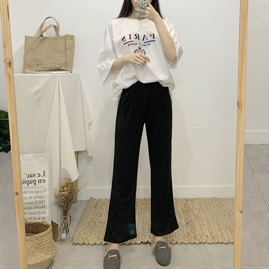 Long and long bootcut banding long pants