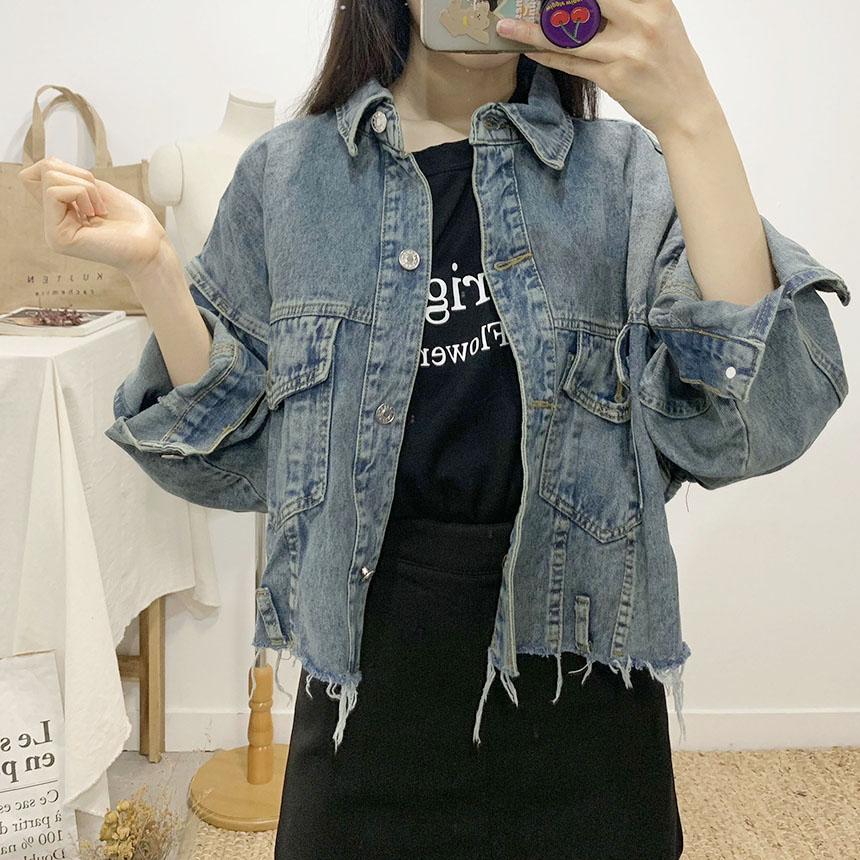 Slow-cut cropped blue jacket