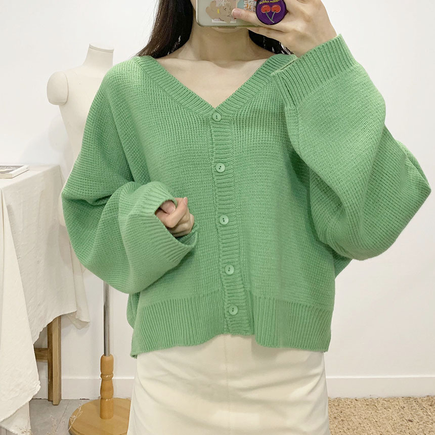 Leichen V-neck knitted cardigan
