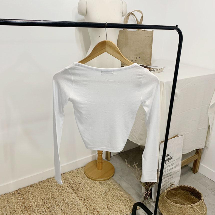 Janety Square Neck Crop Long Sleeve Cardigan