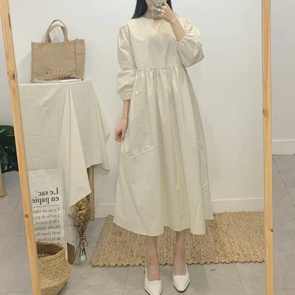 Yorlei Round Neck Puff Long Dress