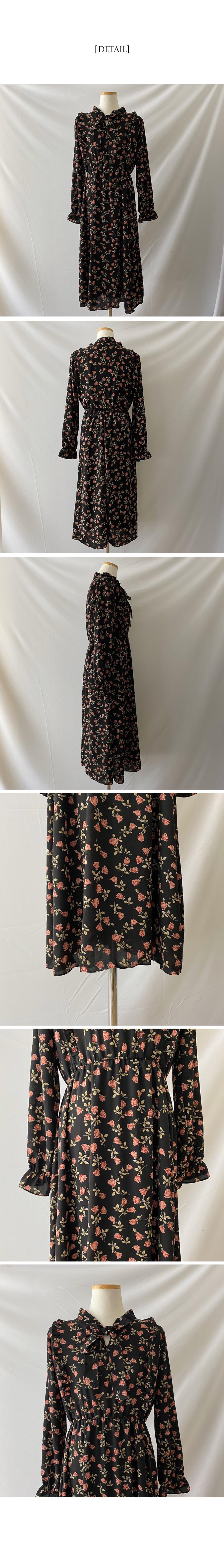Potpourri Flower Ruffled Chiffon Long Dress