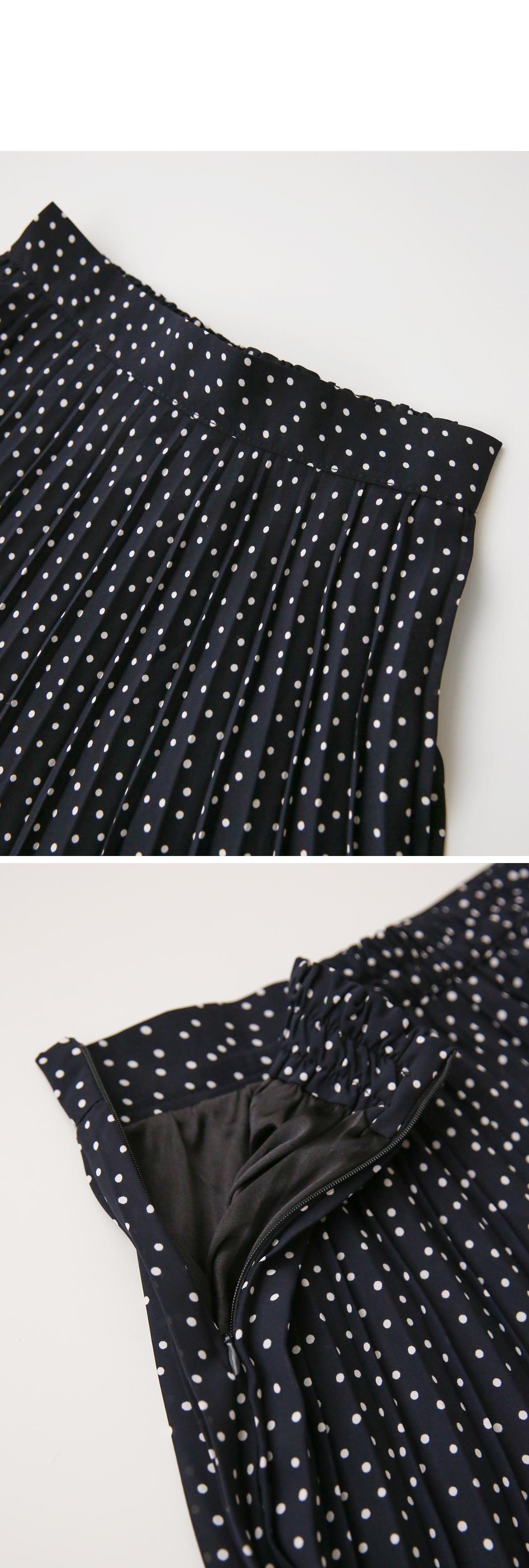 Navy Dot Pleated Skirt