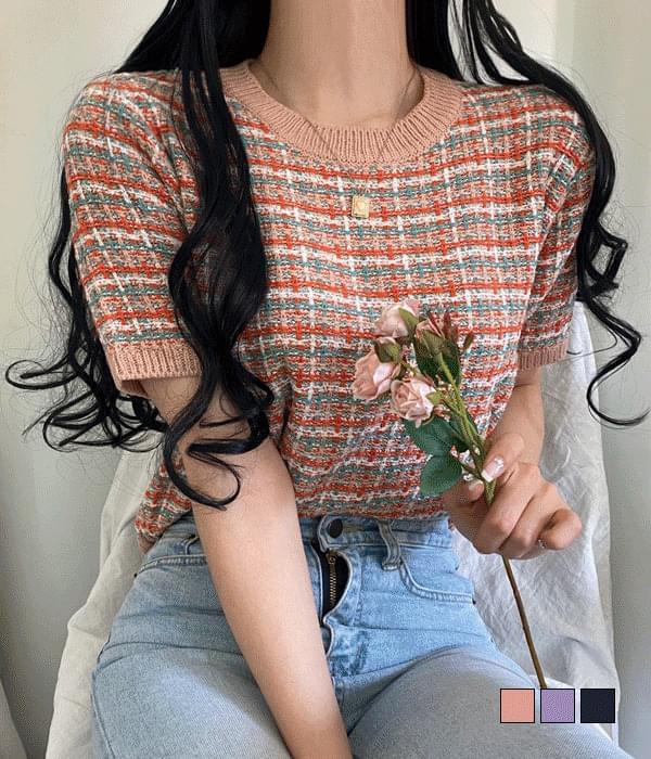 Apricot tweed short sleeve knit