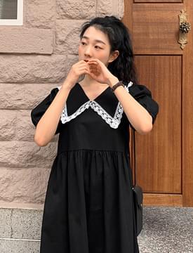 韓國空運 - Lace Big Color Puff Long Dress 長洋裝