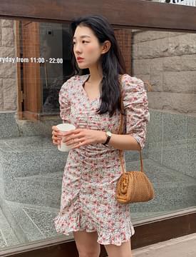 Shirring Point Mini Flower Dress 洋裝