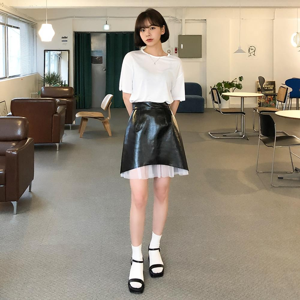 Shah leather mini skirt スカート