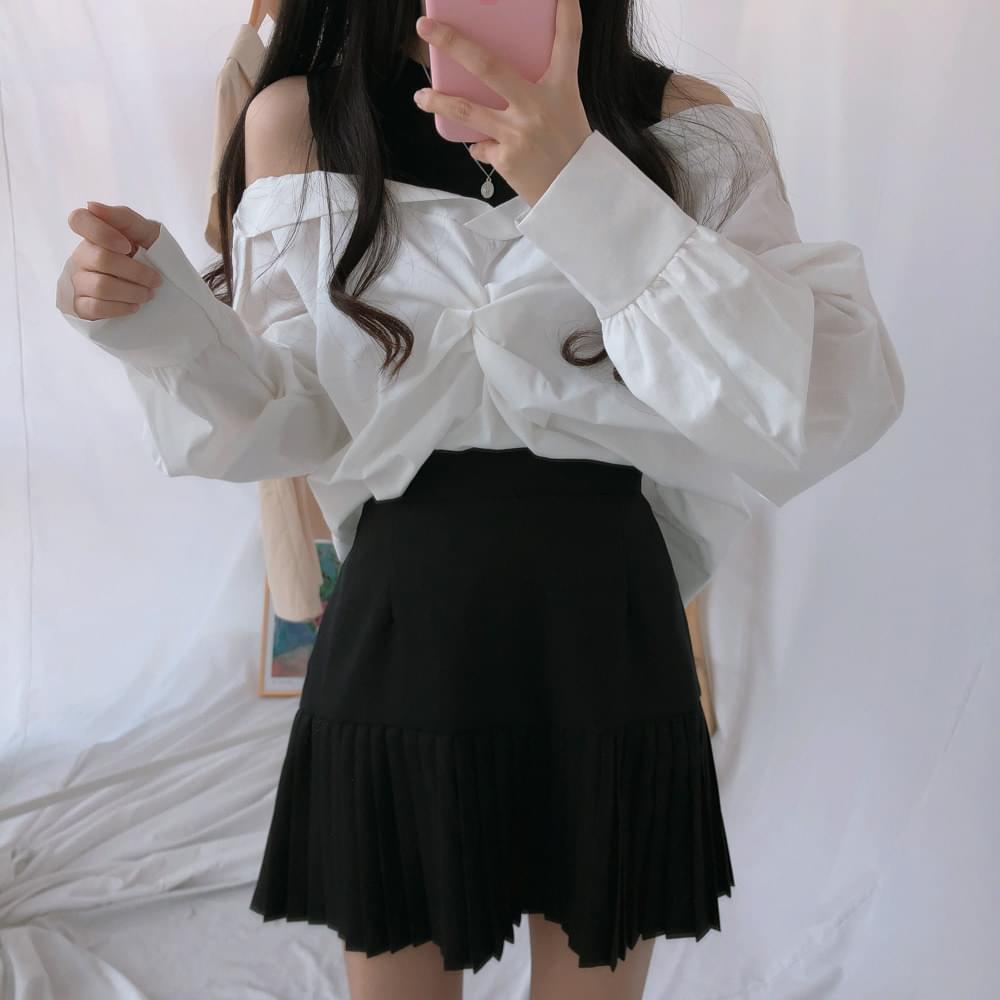 露肩扭結撞色拼接襯衫(3色)