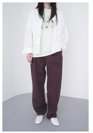 semi-wide pintuck cotton pants (4colors)