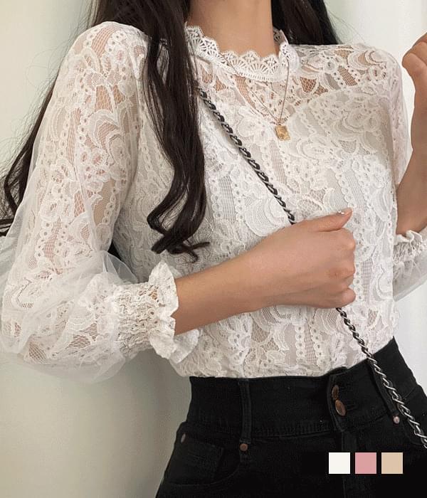 Daffodil sleeve chiffon lace blouse
