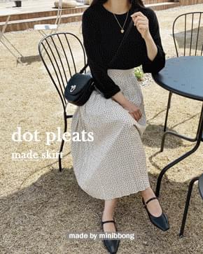 Polka dot pleated long skirt 裙子