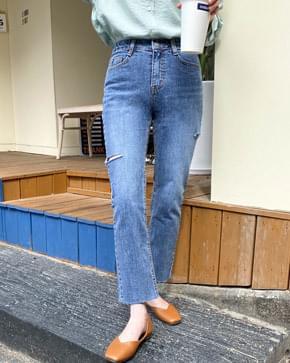 Two-sleeved slim denim pants 牛仔褲