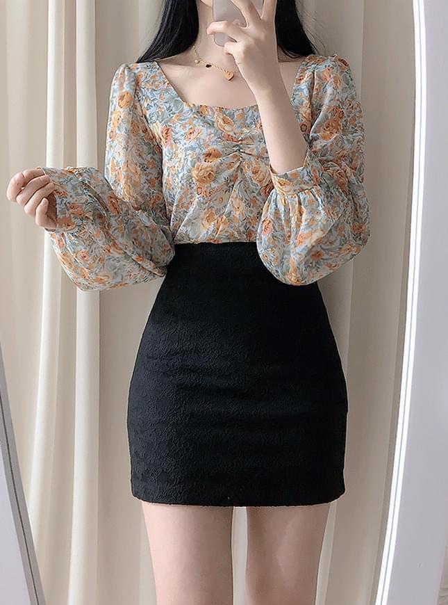 Mazel back ribbon flower blouse blouses