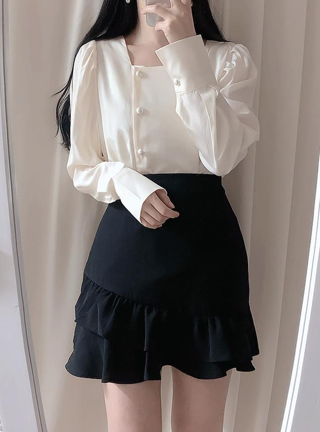 Creamy Shirring Frill Skirt スカート