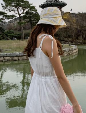 Striped Unique Linen Bucket Hat