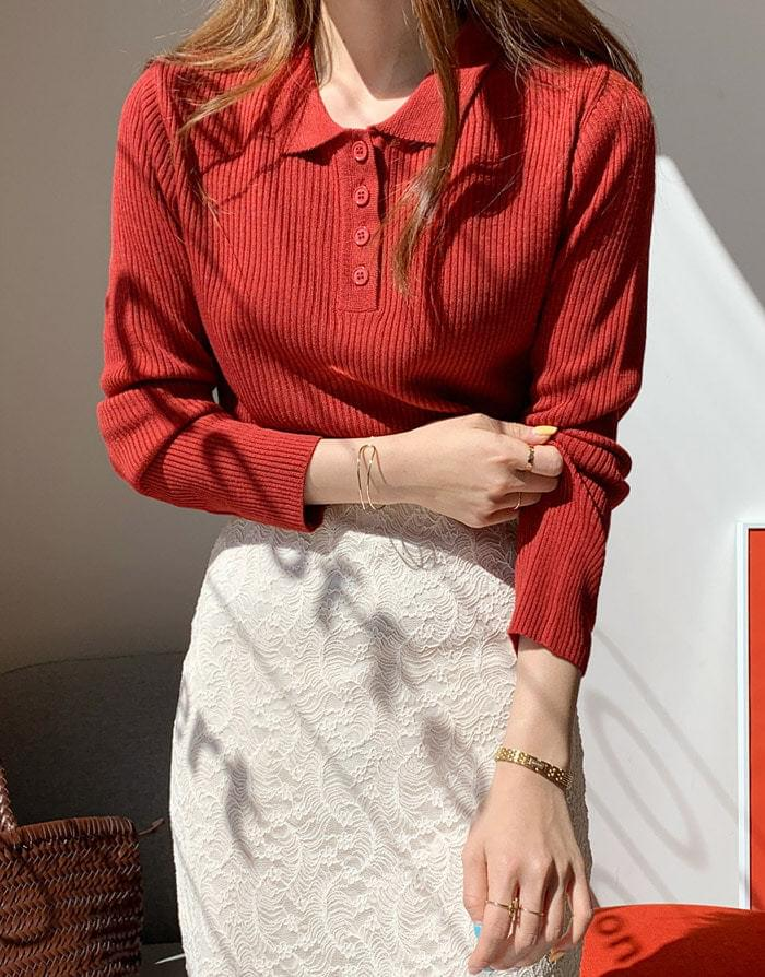 Charming butning collar neck knit knitwears