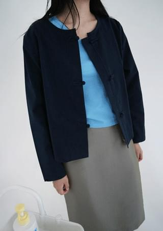 minimal gabardine knot button jacket (navy)