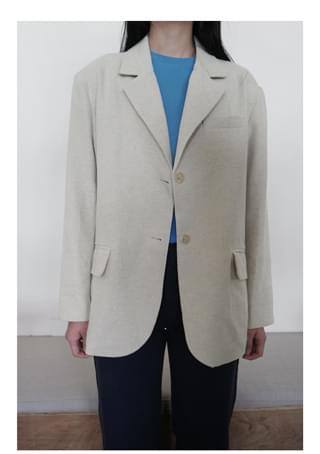 natural basic linen jacket