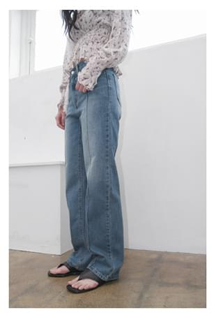 line straight denim pants