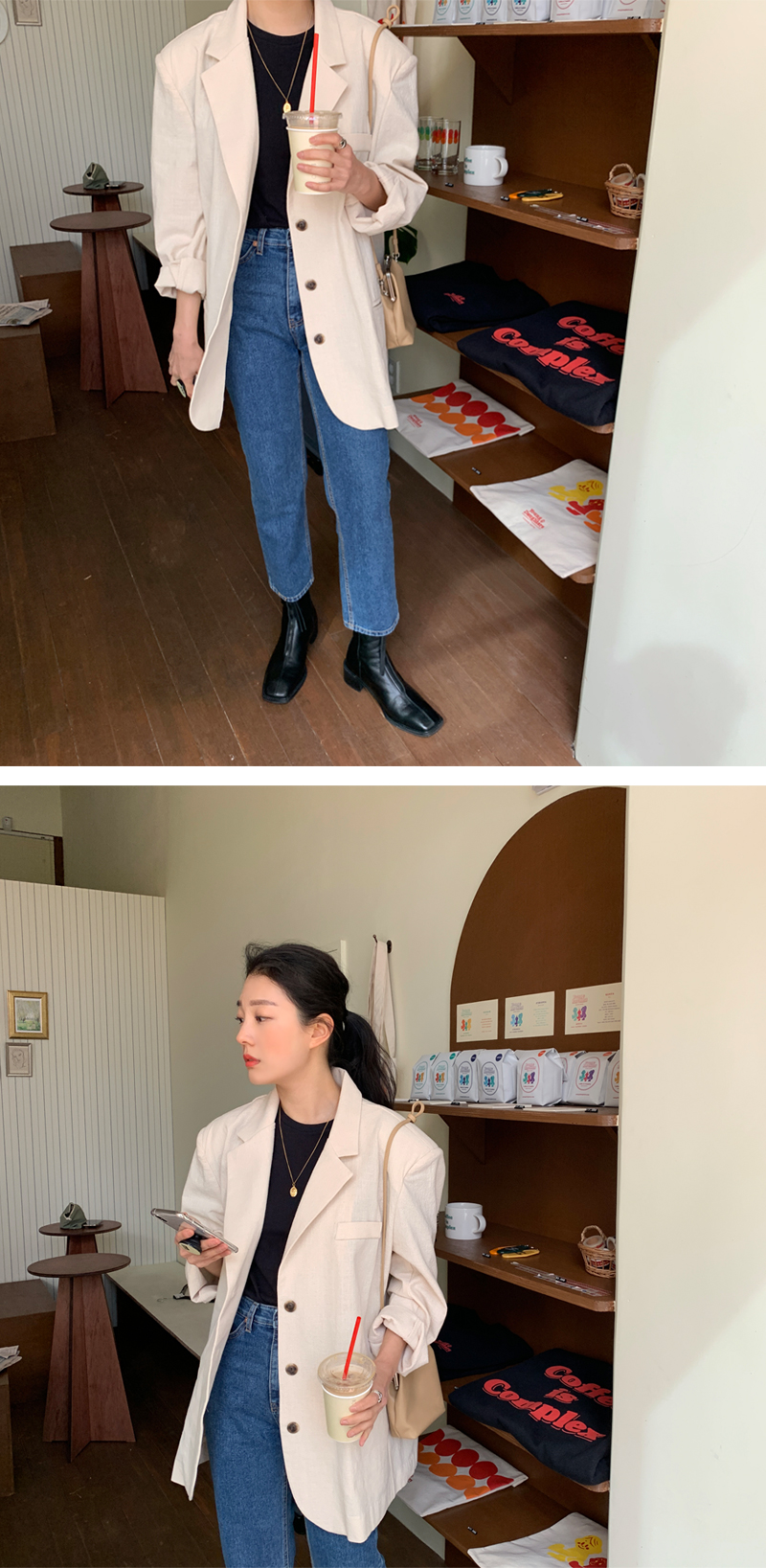 Chic linen overfit tailored jacket