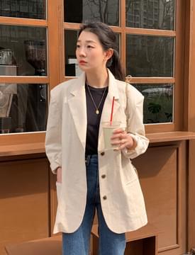 Chic linen overfit tailored jacket 夾克外套