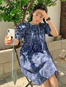 Paisley Puff Mini Dress 洋裝