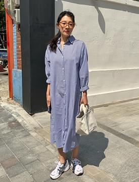 Simple Striped Shirt Long Dress 洋裝