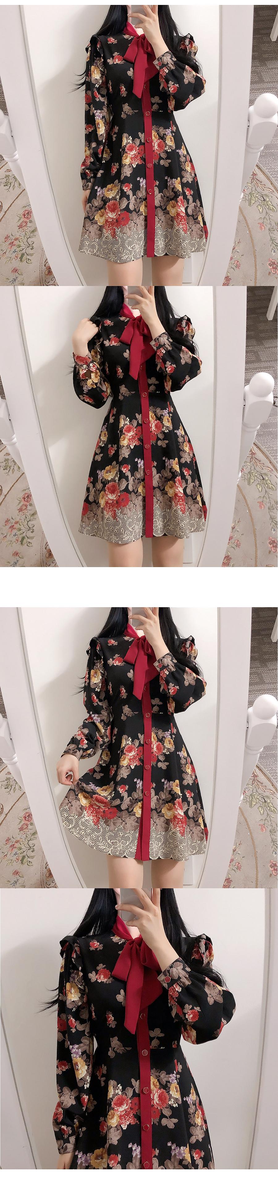 hazel flower ribbon dress