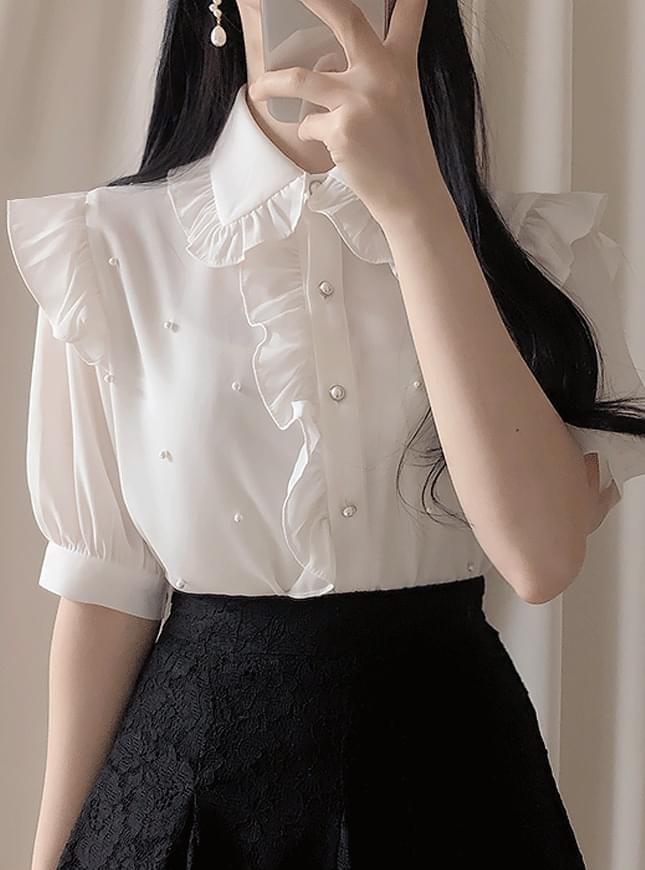 신상할인♥주니엘 진주 리본블라우스(아이,하늘)