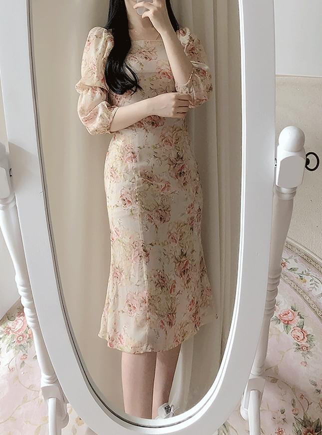 Anne floral shoulder long dress dresses