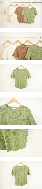 ワッフルラウンド半袖Tシャツ (t0932)
