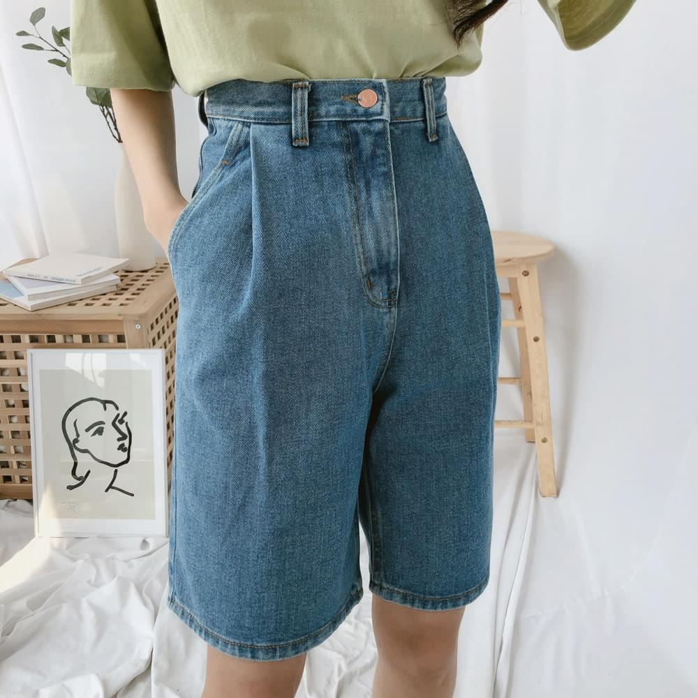 624 Pintuck Part 5 Denim Shorts ショートパンツ