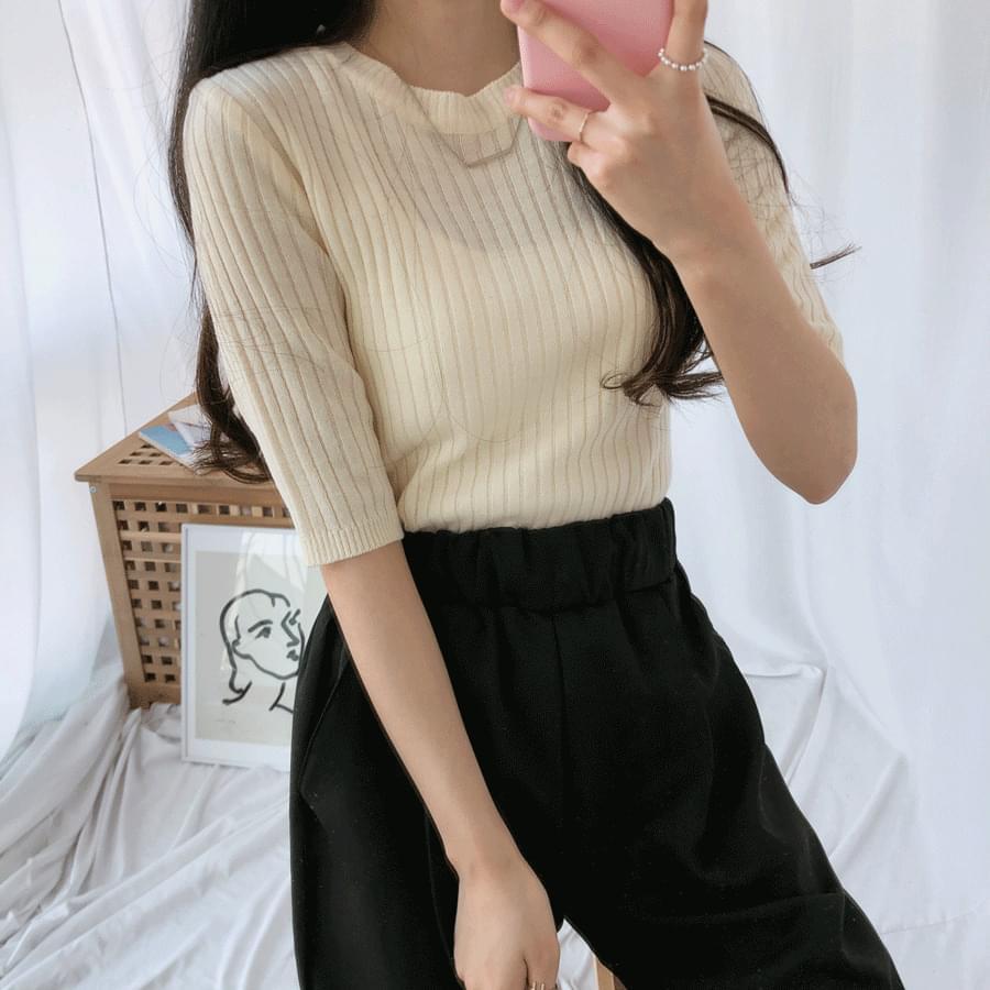 Daily pastel short sleeve knit ニット