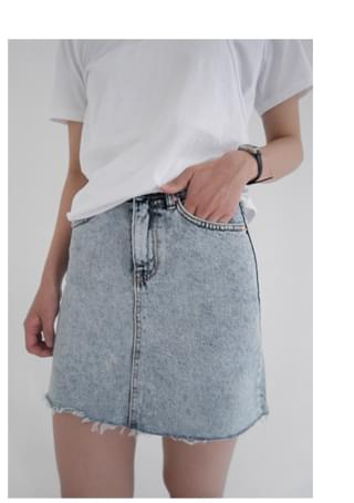 washing denim mini skirt (4colors)