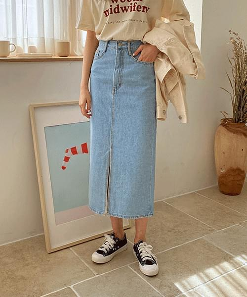 Front open denim skirt
