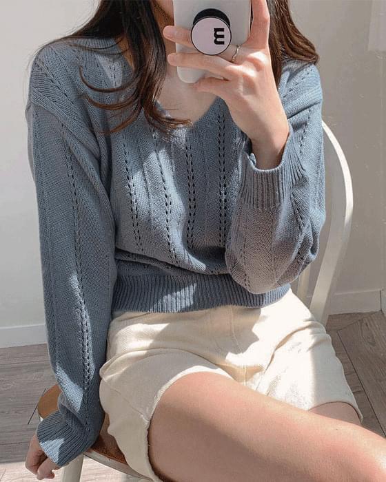 샤벳 크롭 펀칭 v knit - 3color