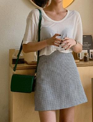 Classic Check A Line Mini Skirt スカート