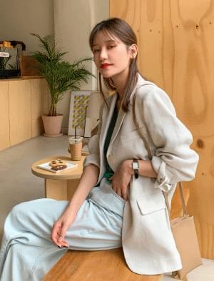 Semi-overfit one button linen jacket