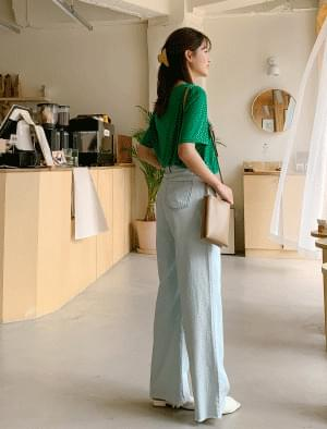 Hem-cut wide straight fit light blue pants デニムパンツ