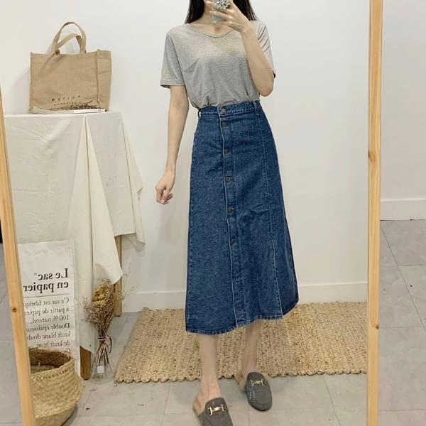 Handy's Denim Trim Long Skirt skirt