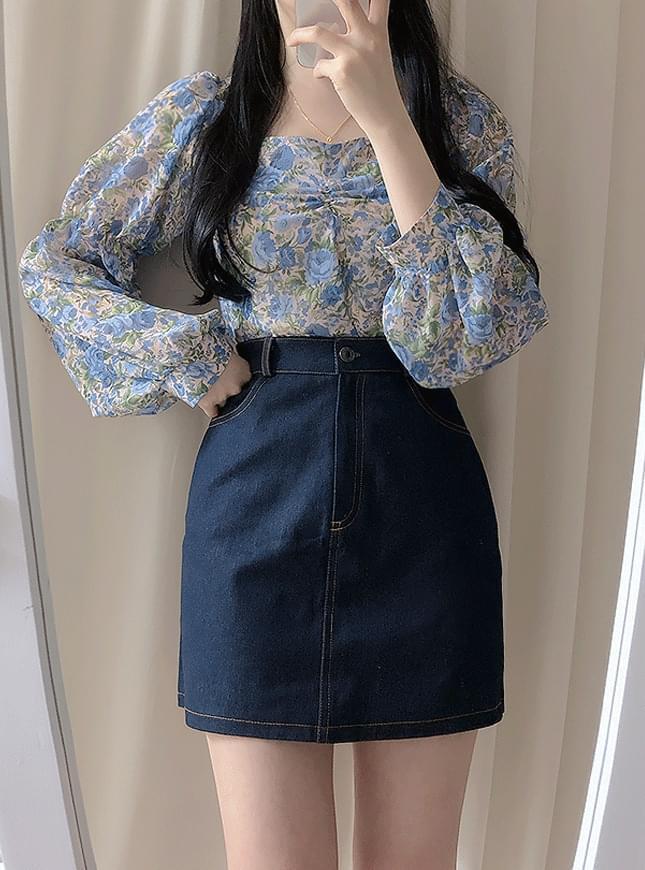 Pocket denim mini skirt skirt