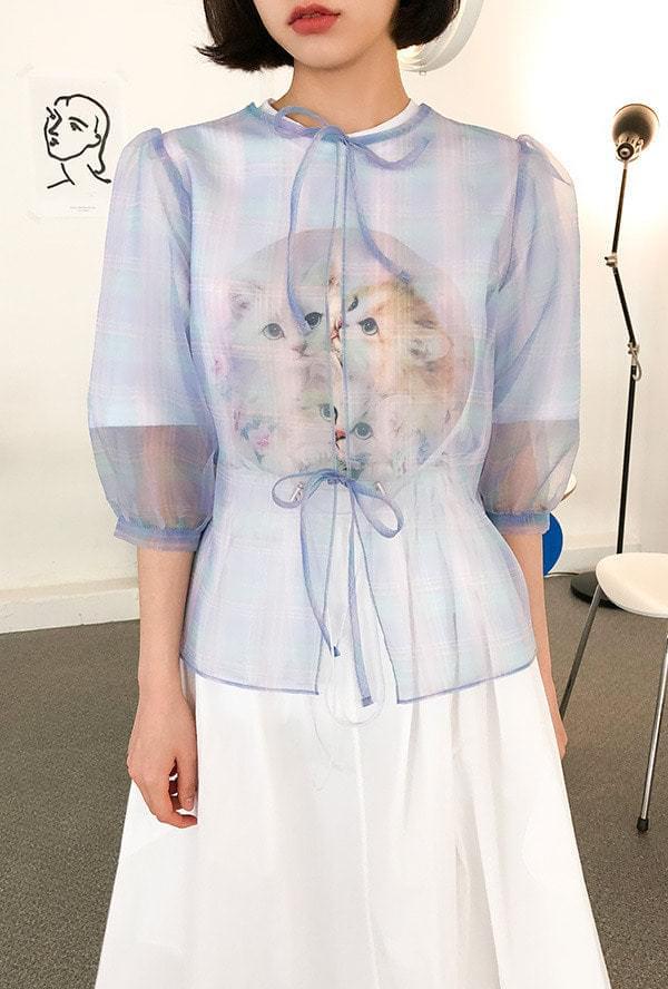 See-through ribbon blouse ブラウス