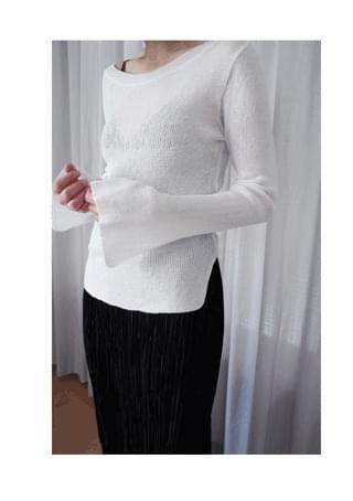 one-side off shoulder knit ニット