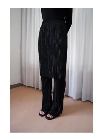 pleats skirt layered pants スカート