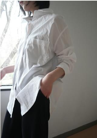 over-fit clean cotton shirts ブラウス