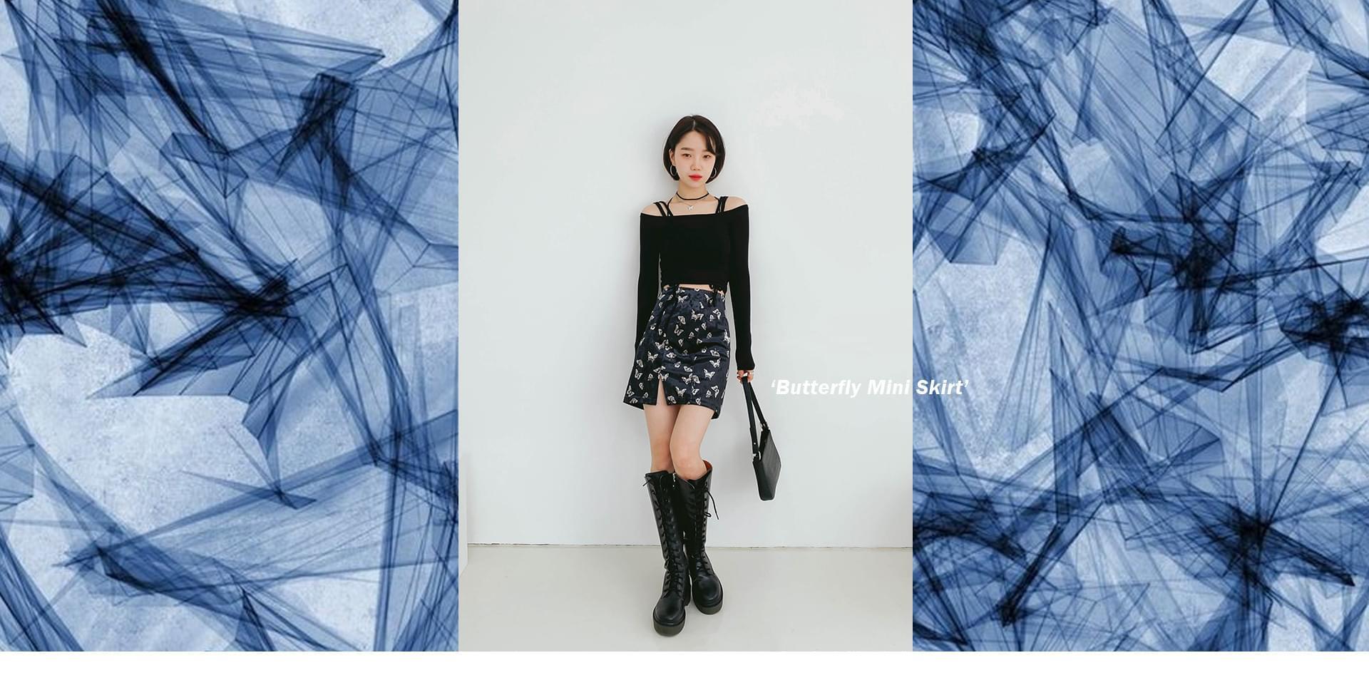Twill Butterfly mini skirt スカート